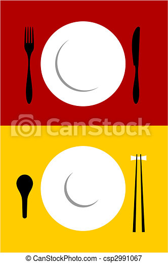 place setting backgrounds on red and yellow place setting
