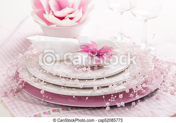 Place setting in pink tone - csp52085773