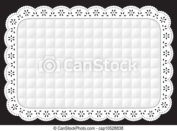 Placemat, White Quilted Eyelet Lace - csp10528838