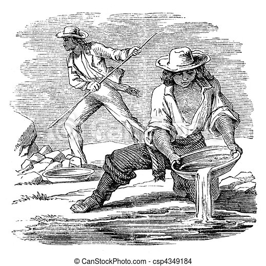 Placer Mining For Minerals Illustration Originally