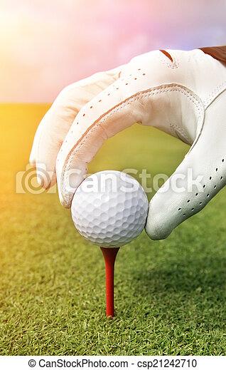 Placing golf ball on a tee - csp21242710