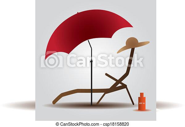 plage, été, parasol, eps10, lit - csp18158820