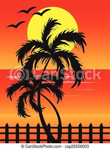 Plage coucher soleil fond plage vecteur coucher soleil - Dessin coucher de soleil ...