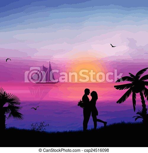 plage, couple, romantique - csp24516098