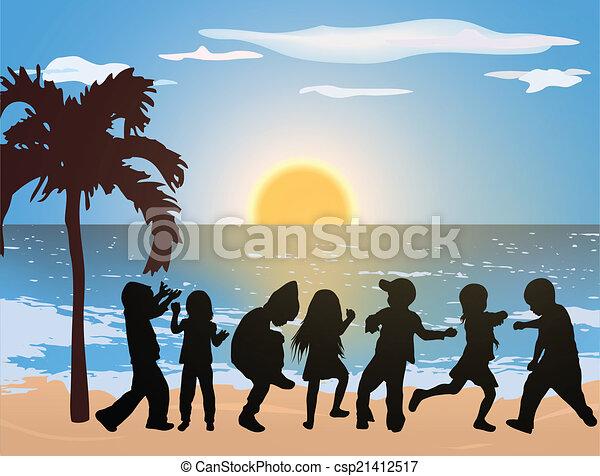 plage, enfants, heureux - csp21412517