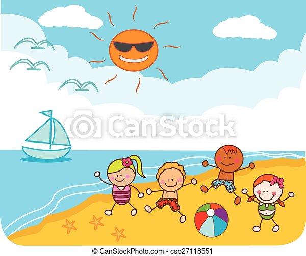 plage, enfants jouer - csp27118551