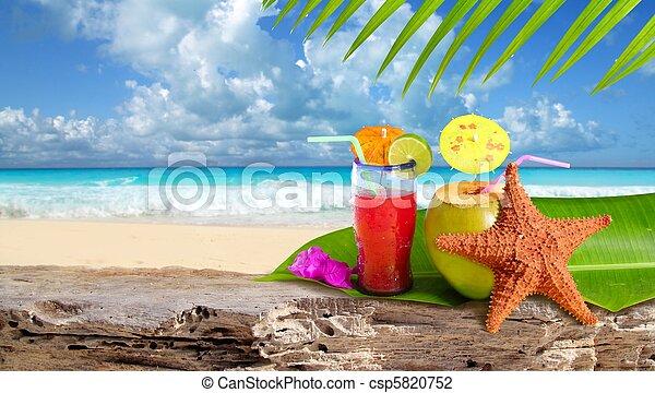 plage, etoile mer, cocktail, exotique, noix coco - csp5820752