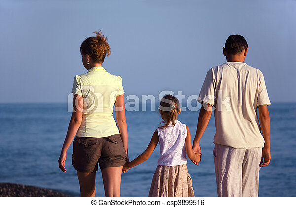 plage., famille, dos, mer, promenades, long, vue., girl - csp3899516