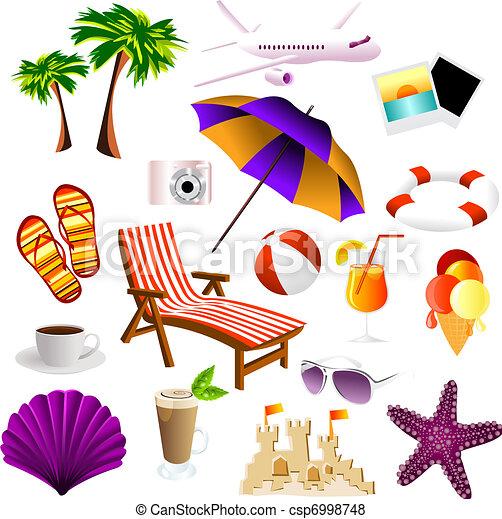 plage, icônes - csp6998748