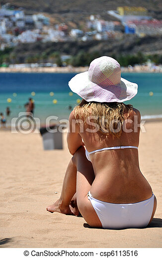 plage, la, scene., playa, teresitas., tenerife, canaris, de - csp6113516
