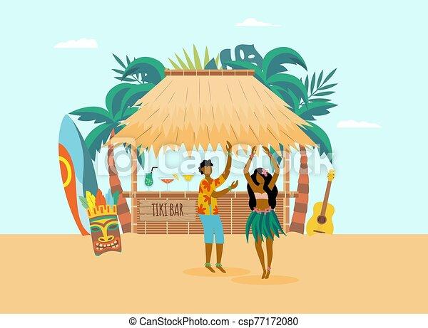 plage, plat, illustration., vecteur, barre, océan, hawaien, côte, caractères - csp77172080