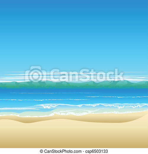 plage tropicale, fond, illustration - csp6503133