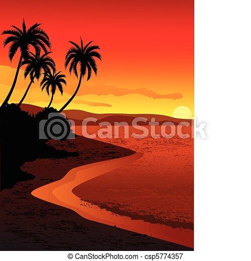 plage tropicale, illustration - csp5774357