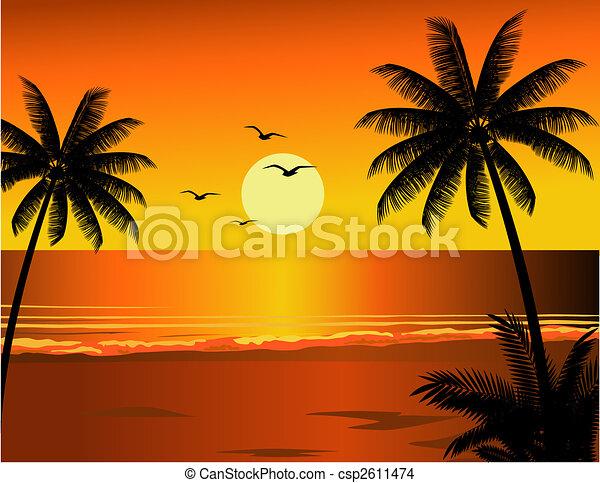 plage tropicale, illustration - csp2611474