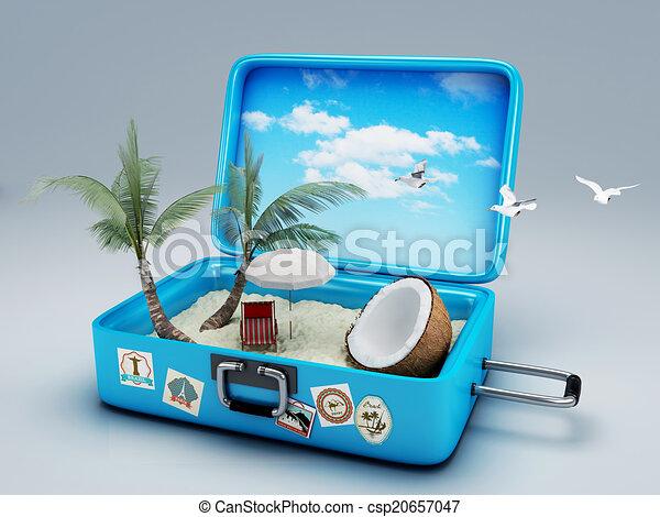 plage, voyage, vacances, suitcase. - csp20657047