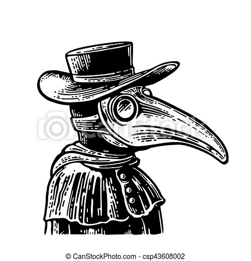 Plague Doctor With Bird Mask And Hat. Vector Vintage Engraving. Plague Doctor With Bird Mask And ...