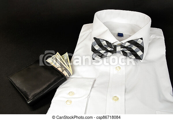 plaid bow tie on shirt with wallet - csp86718084