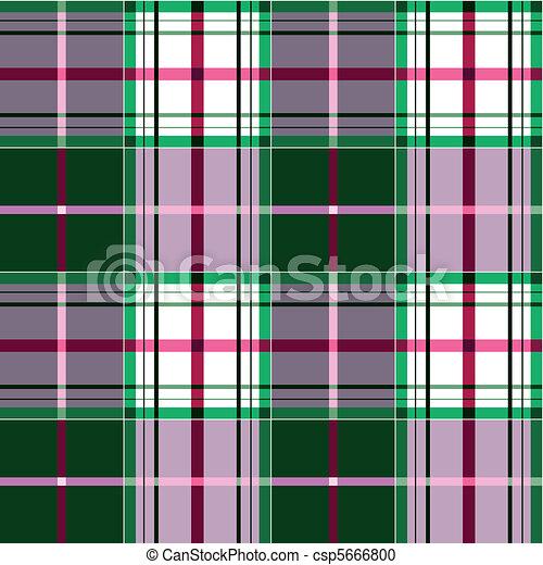 plaid, tartan, tessuto, verde, rosa - csp5666800