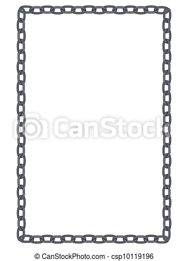 plain and simple metal chain frame isolated - csp10119196