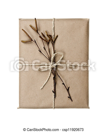 Plain gift with natural decorations - csp11920673
