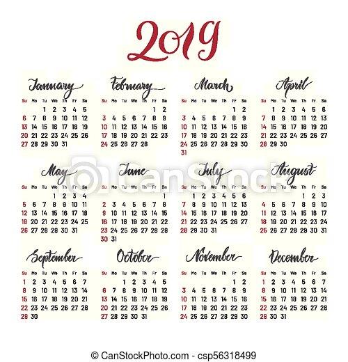 plain wall calendar 2019 year lettering flat csp56318499