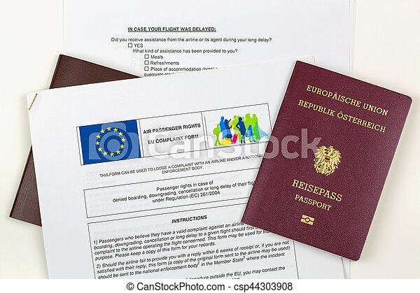 plainte, downgrading, formulaire, intéressé, nié, contre, annulation, ligne aérienne, passeport, delay., eu, autrichien, électronique, embarquement - csp44303908