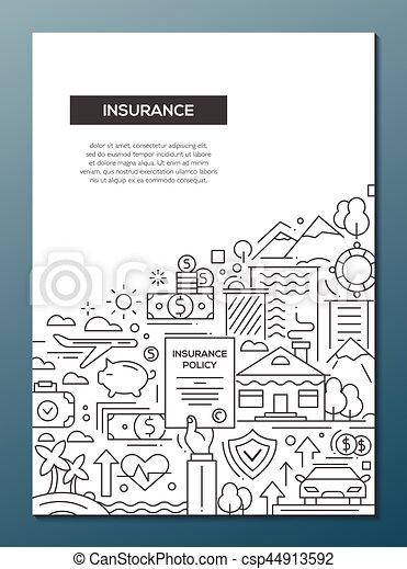 Plakat, -, design, a4, schablone, broschüre, linie, versicherung ...