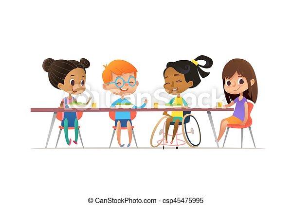Tisch schule clipart  EPS Vektorbilder von plakat, einbeziehung, sprechende , kantine ...