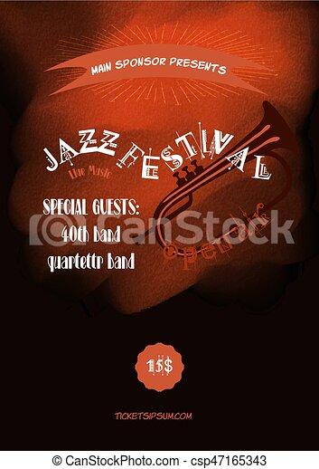 Plakat, jazz, vektor, musik, schablone, gestein, oder. Web,... EPS ...