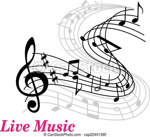 plakat, live musik, schablone. rosa, notenschluessel
