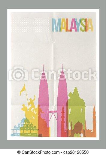 Reisen Sie Malaysia Wahrzeichen Skyline Jahrgang Poster - csp28120550