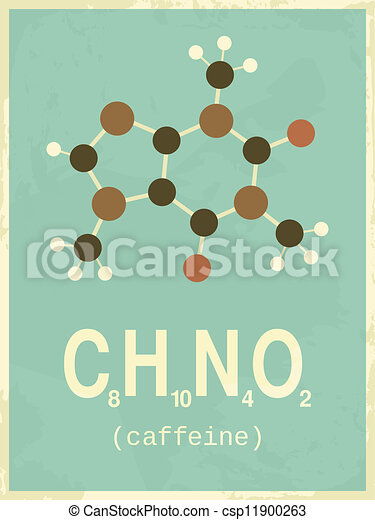 plakat, stil, retro, koffein - csp11900263