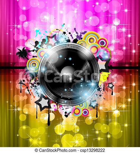 plakate, hintergrund, elements., klub, disko, international, tanz, ideal, design, werbung, los, flieger, musik, ereignis, panels. - csp13298222