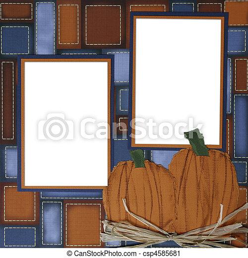 plakboek, frame, halloween, pagina, pompoen - csp4585681