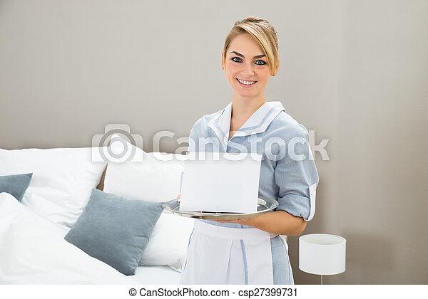 plakkaat, vrouw, blad, vasthouden - csp27399731