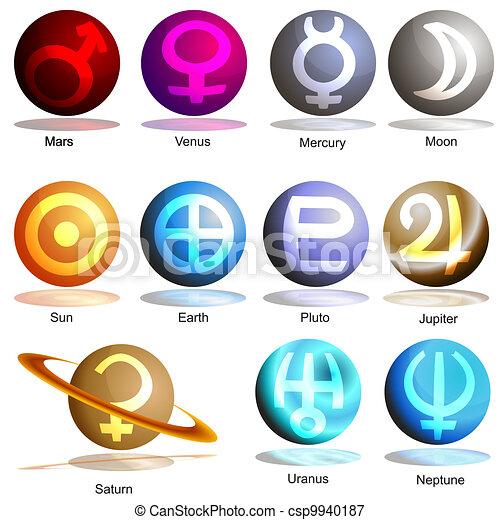 Gut gemocht Vecteurs illustration de planète, symbole, ensemble, 3d - image  MK57