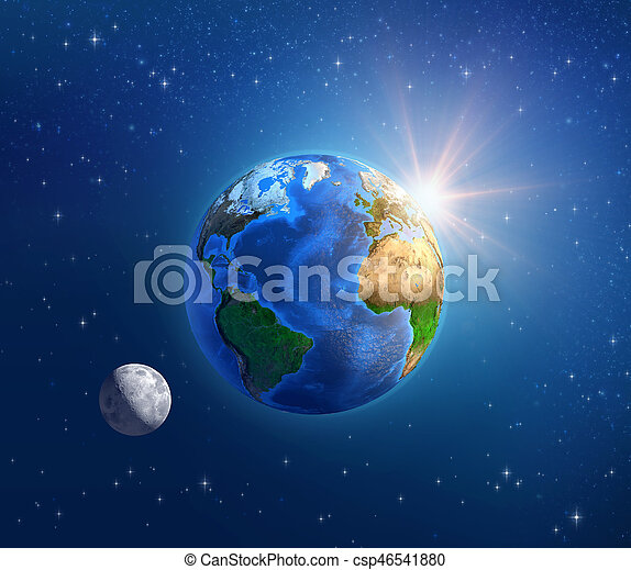 planète, espace, soleil, profond, clair lune, la terre - csp46541880
