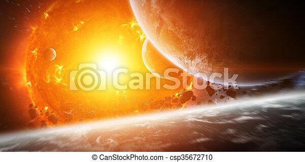 planète, exploser, soleil, espace, fin - csp35672710