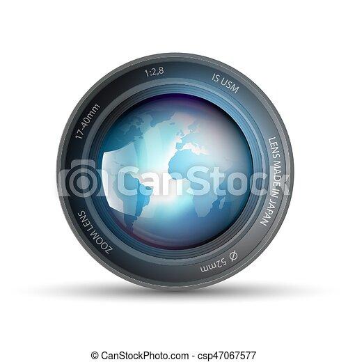 planète, lentille, intérieur, appareil photo, la terre - csp47067577
