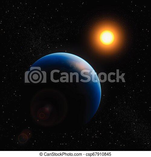 planète, soleil, la terre, étoiles, espace - csp67910845