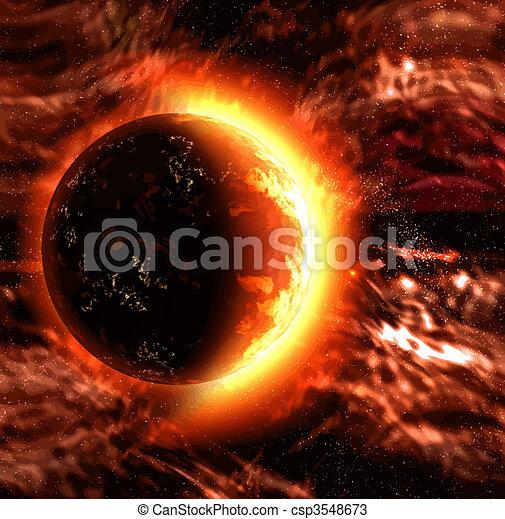 planète, soleil, ou, brûlé - csp3548673
