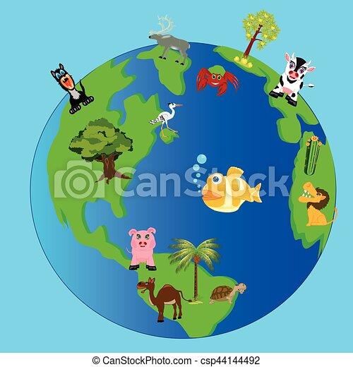 Dessin Planète Terre planète, vivant, terre, nature. usines, planète, terre, animaux, elle.