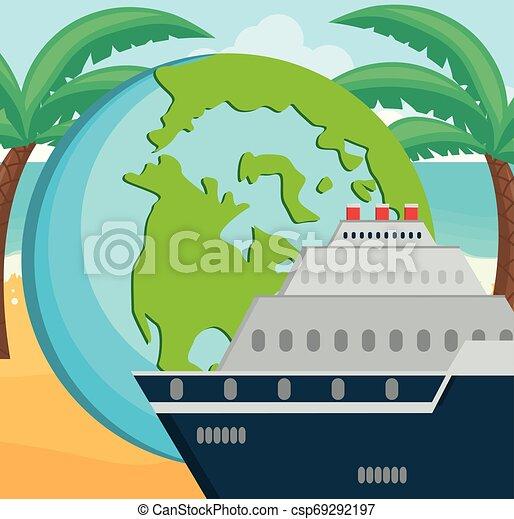 planète, voyage mondial, croisière bateau - csp69292197