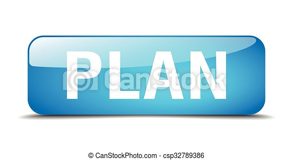 plan blue square 3d realistic isolated web button - csp32789386