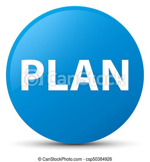 Plan cyan blue round button - csp50384926