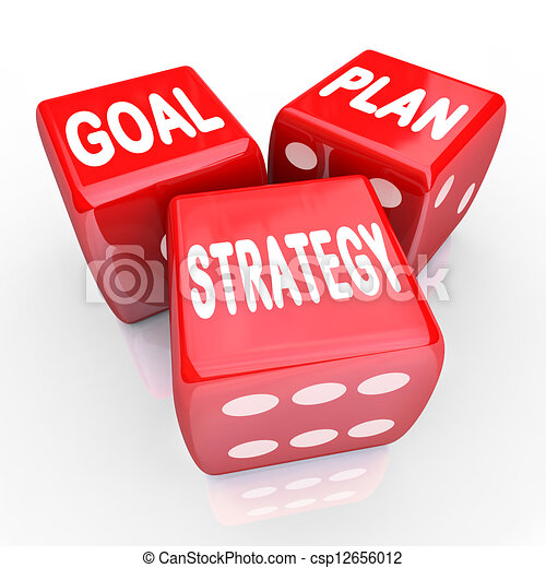 Plan Goal Strategy Words on Three Red Dice - csp12656012