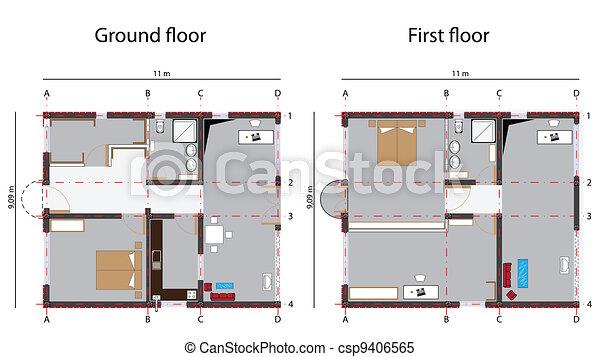 Vecteur clipart de plan maison conception maison for Conception de croquis de plan de maison