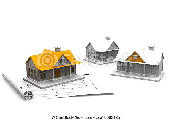 plan, maison, croquis mise point, architecture, 3d - csp18662125