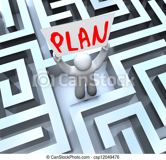 Plan Man Holding Sign in Maze Labyrinth - csp12049476