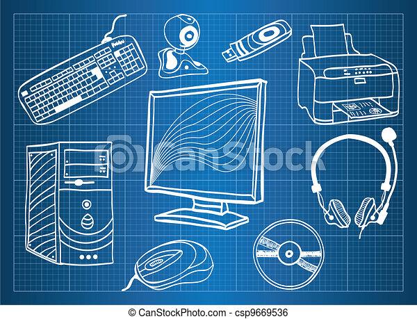 plan, obwodowy, -, urządzenia, hardware, komputer - csp9669536